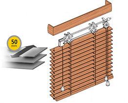 Żaluzje drewniane 50 mm drabinka sznurkowa